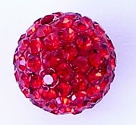 5 Shamballa beads 8mm Round Rhinestones -  Light Siam